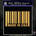 Made in USA Barcode Decal Sticker Gold Vinyl 120x120