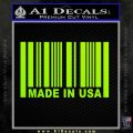 Made in USA Barcode Decal Sticker Lime Green Vinyl 120x120