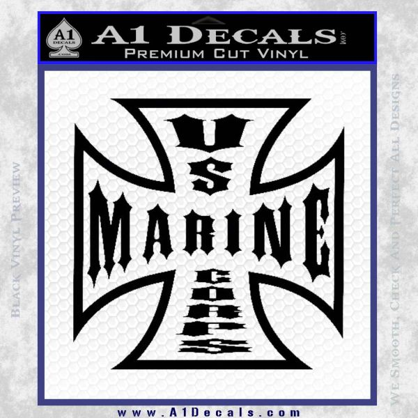 Marine Iron Cross Decal Sticker Black Vinyl