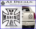 Marine Iron Cross Decal Sticker Carbon FIber Black Vinyl 120x97