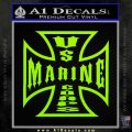 Marine Iron Cross Decal Sticker Lime Green Vinyl 120x120