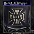Marine Iron Cross Decal Sticker Metallic Silver Emblem 120x120