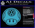 Mario Mushroom VW D2 Decal Sticker Light Blue Vinyl 120x97