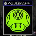 Mario Mushroom VW D2 Decal Sticker Lime Green Vinyl 120x120