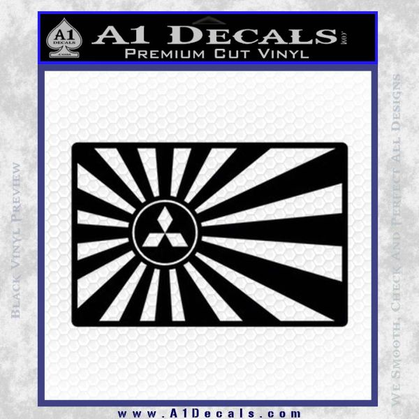 Mitsubishi Rising Sun Decal Sticker Black Vinyl