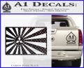Mitsubishi Rising Sun Decal Sticker Carbon FIber Black Vinyl 120x97