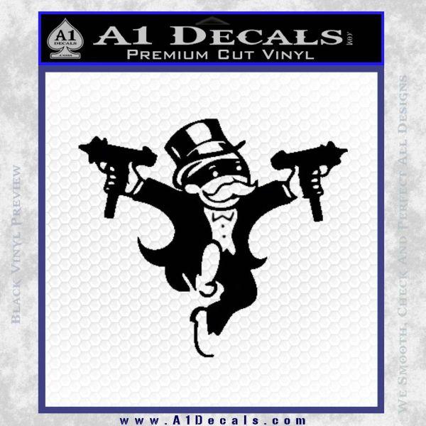 Monopoly Man Stickup Uzis Decal Sticker Black Vinyl