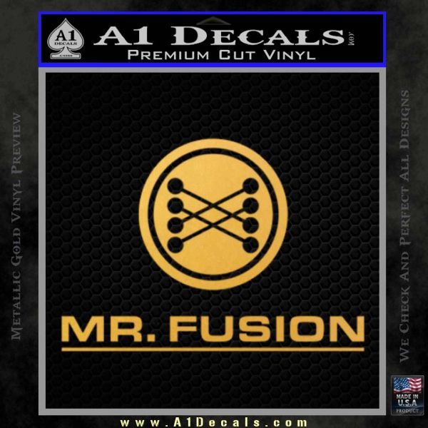 Mr Fusion Back To The Future Decal Sticker Gold Vinyl