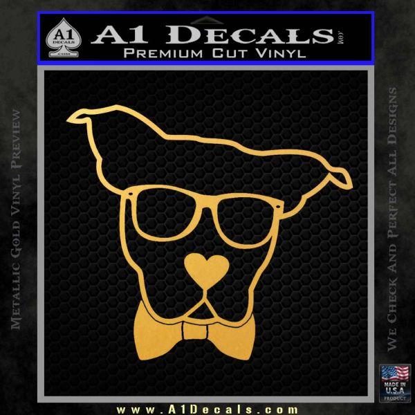 Nerd Dog geek Decal Sticker Gold Vinyl