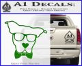 Nerd Dog geek Decal Sticker Green Vinyl Logo 120x97