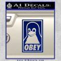 Obey Linux B Decal Sticker Blue Vinyl 120x120
