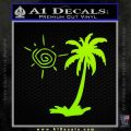 Palm Tree Decal Sticker Sun Lime Green Vinyl 120x120