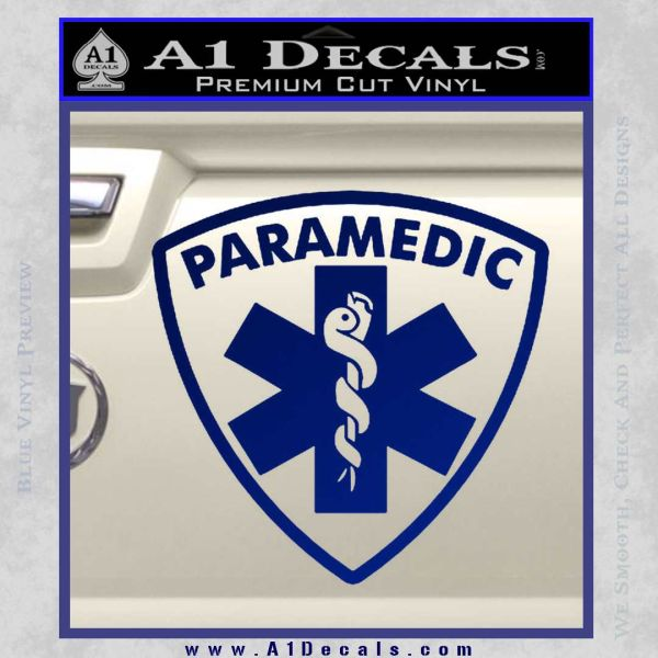 Paramedic Triangular Badge Decal Sticker Blue Vinyl
