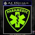 Paramedic Triangular Badge Decal Sticker Lime Green Vinyl 120x120