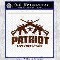 Patriot Live Free or Die Rifles Crossed Decal Sticker BROWN Vinyl 120x120