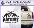 Patriot Live Free or Die Rifles Crossed Decal Sticker Carbon FIber Black Vinyl 120x97