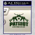 Patriot Live Free or Die Rifles Crossed Decal Sticker Dark Green Vinyl 120x120