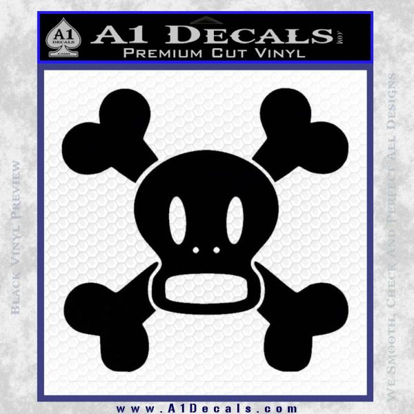 Paul Frank Skurvy Skull Decal Sticker Black Vinyl