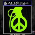 Peace Grenade Decal Sticker Lime Green Vinyl 120x120