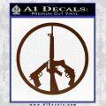 Peace Sign Gun Weapons Rifle Decal Sticker BROWN Vinyl 120x120
