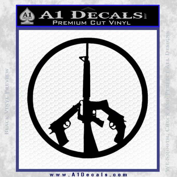 Peace Sign Gun Weapons Rifle Decal Sticker A1 Decals