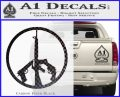 Peace Sign Gun Weapons Rifle Decal Sticker Carbon FIber Black Vinyl 120x97