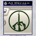 Peace Sign Gun Weapons Rifle Decal Sticker Dark Green Vinyl 120x120