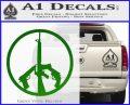 Peace Sign Gun Weapons Rifle Decal Sticker Green Vinyl Logo 120x97