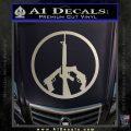 Peace Sign Gun Weapons Rifle Decal Sticker Metallic Silver Emblem 120x120