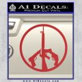 Peace Sign Gun Weapons Rifle Decal Sticker Red 120x120