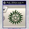 Pentagram Pentacle Flames Rays D1 Decal Sticker Dark Green Vinyl 120x120