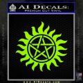 Pentagram Pentacle Flames Rays D1 Decal Sticker Lime Green Vinyl 120x120