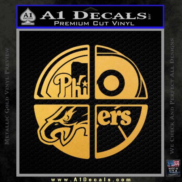 Philidelphia Pro Sports Decal Sticker Gold Vinyl