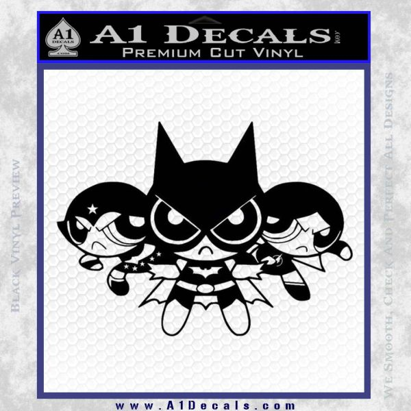Powerpuff Girls Justice League Final Decal Sticker Black Vinyl
