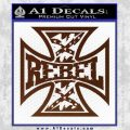 Rebel Iron Cross Confederate Decal Sticker BROWN Vinyl 120x120