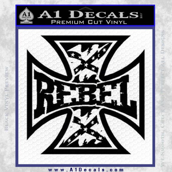 Rebel Iron Cross Confederate Decal Sticker Black Vinyl