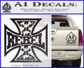 Rebel Iron Cross Confederate Decal Sticker Carbon FIber Black Vinyl 120x97