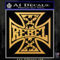 Rebel Iron Cross Confederate Decal Sticker Gold Vinyl 120x120