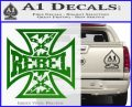 Rebel Iron Cross Confederate Decal Sticker Green Vinyl Logo 120x97