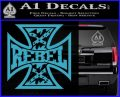 Rebel Iron Cross Confederate Decal Sticker Light Blue Vinyl 120x97
