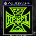 Rebel Iron Cross Confederate Decal Sticker Lime Green Vinyl 120x120
