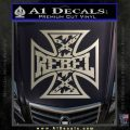 Rebel Iron Cross Confederate Decal Sticker Metallic Silver Emblem 120x120
