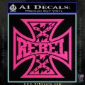 Rebel Iron Cross Confederate Decal Sticker Pink Hot Vinyl 120x120