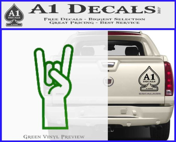 Rocker Hand Decal Sticker Green Vinyl Logo