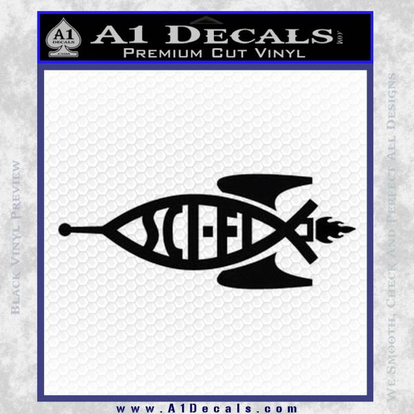 Sci Fi Jesus Fish Decal Sticker Black Vinyl