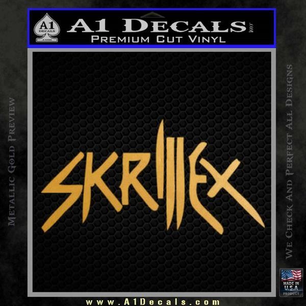 Skrillex Decal Sticker Full Gold Metallic Vinyl Black