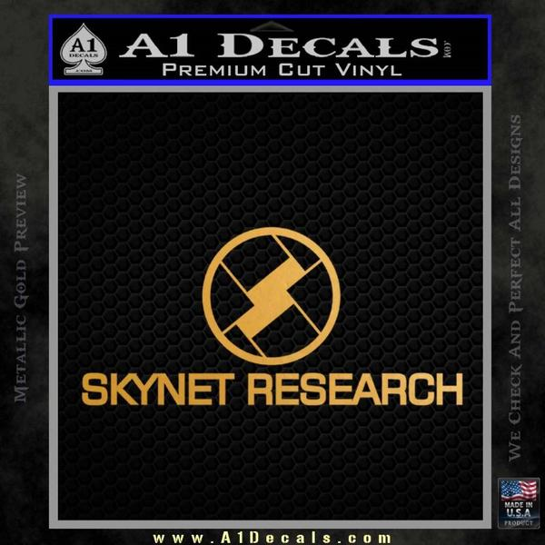 Skynet Decal Sticker Terminator Gold Metallic Vinyl Black