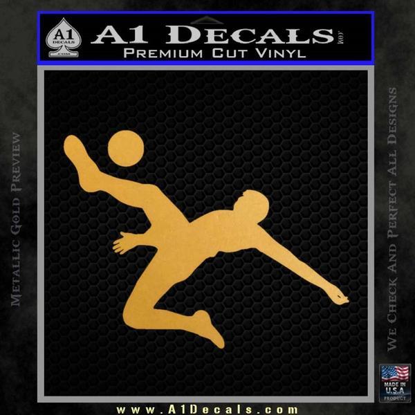 Soccer Player Kick Decal Sticker Gold Metallic Vinyl Black