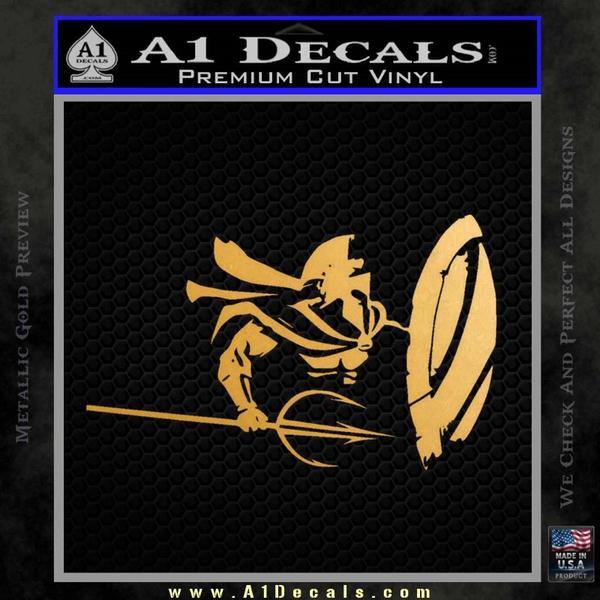 Sparta 300 Spartan Shield Trident Decal Sticker Gold Metallic Vinyl Black
