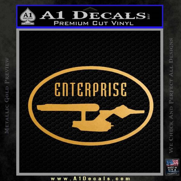 Star Trek Enterprise Decal Sticker Euro Gold Metallic Vinyl
